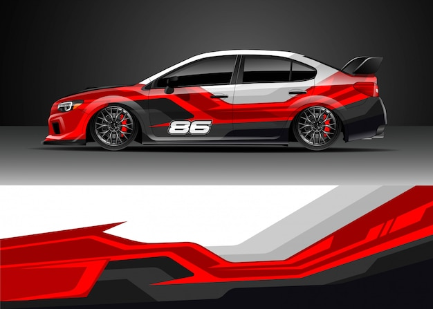 Projekty Naklejek Samochodów Wyścigowych Premium Wektorów