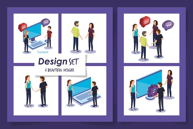 Projekty Pracy Zespołowej Z Ludźmi I Ikonami Premium Wektorów