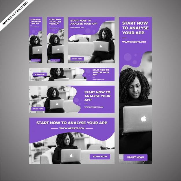 Projekty reklam marketingowych aplikacji do marketingu cyfrowego Premium Wektorów