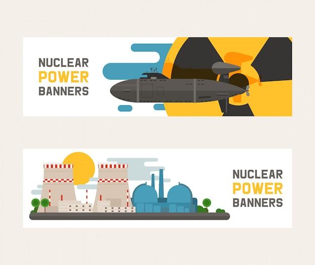 Promieniotwórczy, budynek elektrowni jądrowej, wybuch bomby, atomowe ikony ustawiać sztandary ilustracyjni. Premium Wektorów