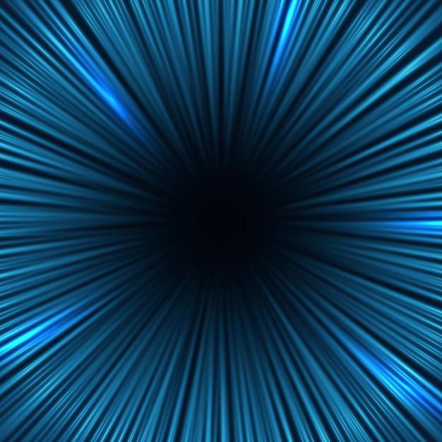 Promieniowe niebieskie linie prędkości światła. tło wektor efekt szybkiego ruchu Premium Wektorów