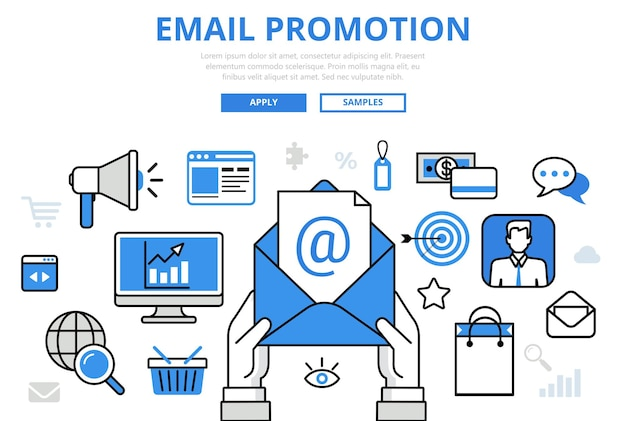 Promocja E-mailowa Marketing Cyfrowy Koncepcja Promocji Online Płaska Linia Sztuki Ikony. Darmowych Wektorów