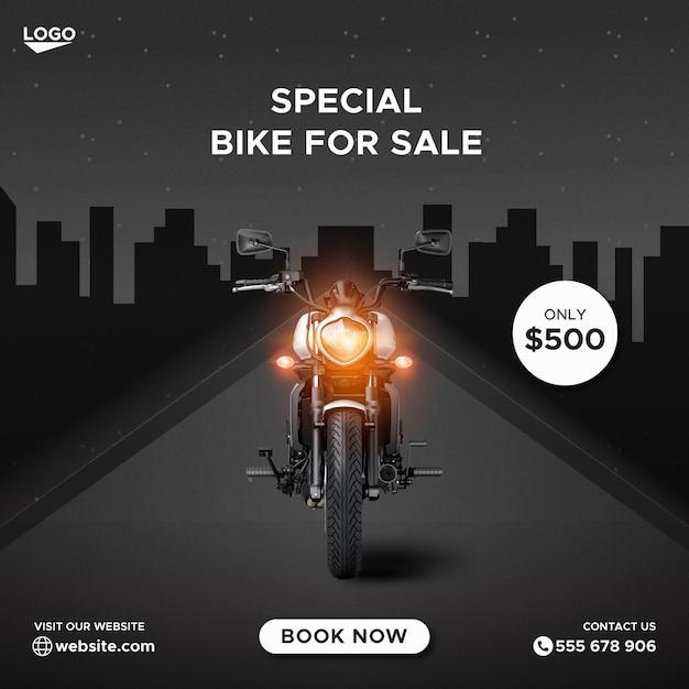 Promocja Sprzedaży Rowerów Szablon Banera Na Facebooku W Mediach Społecznościowych Premium Wektorów