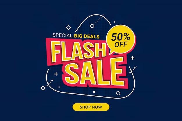 Promocja Szablonu Banera Ze Zniżką Na Sprzedaż Flash Premium Wektorów