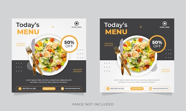 Promocja żywności W Mediach Społecznościowych I Post Na Banerze Na Instagramie Premium Wektorów