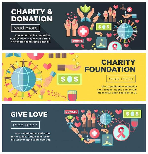 Promocyjne Plakaty Fundacji Charytatywnych I Fundacji Internetowych Premium Wektorów