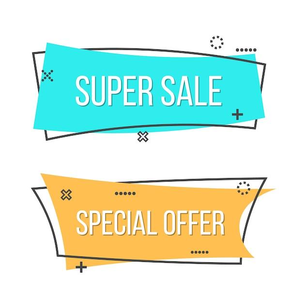 Promocyjny tasiemkowy sztandaru tło, sprzedaż plakat. Premium Wektorów