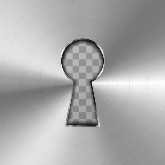 Prosta Dziurka Od Klucza W Błyszczącej Metalowej Płytce Premium Wektorów