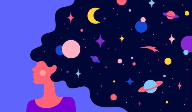 Prosta Postać Kobiety Dziewczyna Z Rozgwieżdżoną Nocą Wszechświata We Włosach Premium Wektorów