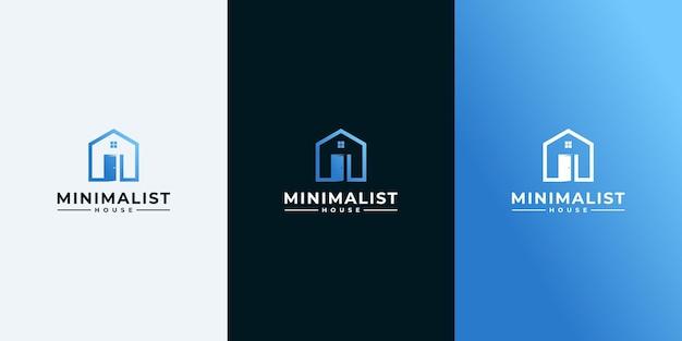 Proste Logo Domu Ze Stylem Konturu I Projektem Wizytówki, Domem, Nieruchomościami, Grafiką Liniową, Konspektem Premium Wektorów