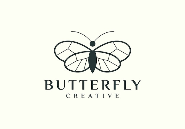 Proste logo motyla z eleganckim konturem Premium Wektorów