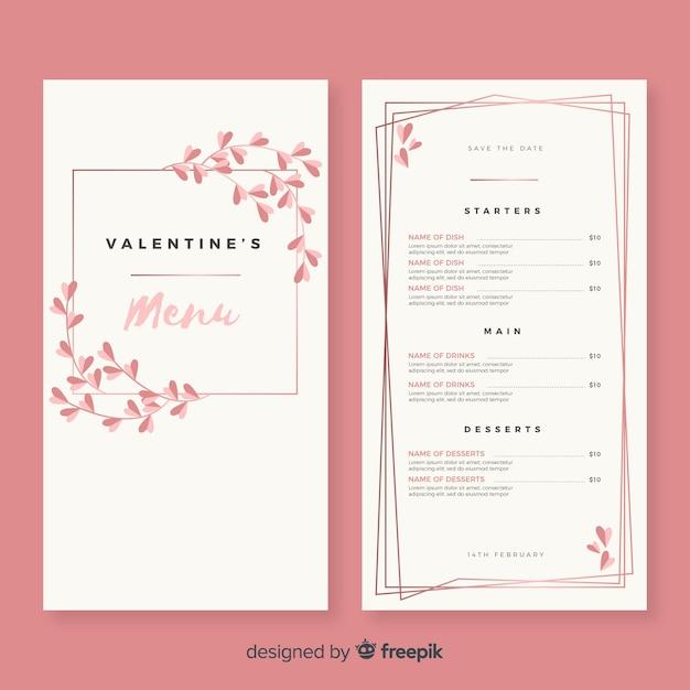 Proste menu szablon valentine menu Darmowych Wektorów