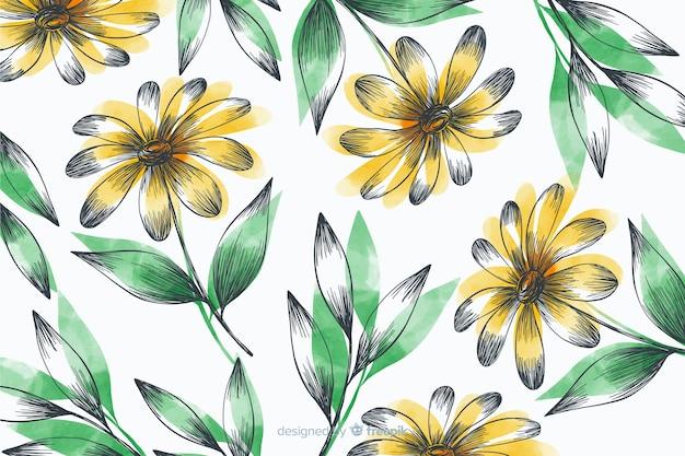 Proste Tło Z żółtymi Kwiatami Darmowych Wektorów