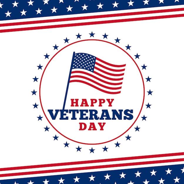 Prostego Szczęśliwego Dnia Weterana Loga Odznaki Plakatowy Tło Z Usa Flaga Ilustracyjnym Ornamentem. Premium Wektorów