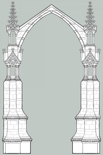 Prostokątna Rama średniowiecznego Stylu Rękopisu. Gotycki łuk Ostrołukowy Uformowany Z Latających Przypór. Premium Wektorów