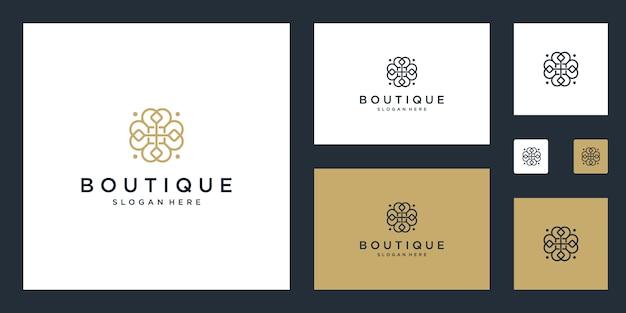 Prosty I Elegancki Kwiatowy Monogram Szablon Projektu, Elegancki Projekt Logo Sztuki Linii, Ilustracja Premium Wektorów