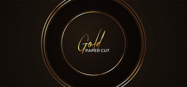 Prosty Krąg Luksusowy Papier Wyciąć Szablon Streszczenie Tło Ze świecącą Złotą Ramą Premium Wektorów