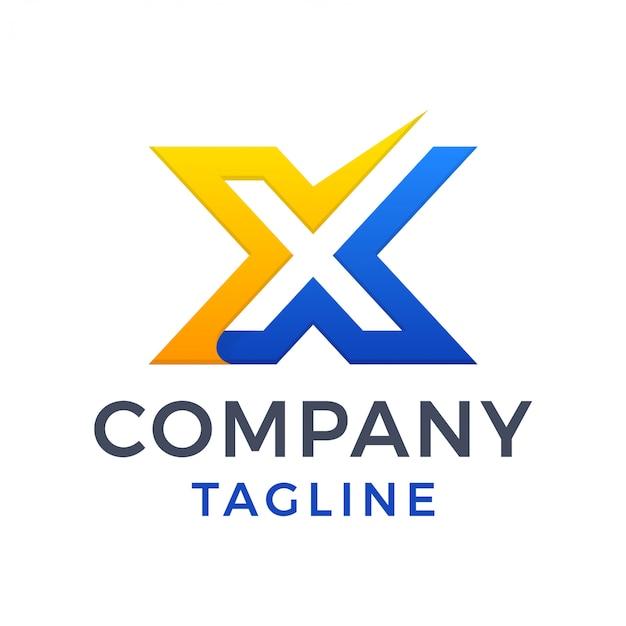 Prosty, Odważny, Nowoczesny, Litera X Znacznik Wyboru, Czyste Logo Premium Wektorów
