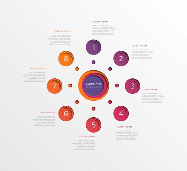 Prosty Osiem Kroków Infographic Szablon Z Okrągłymi Elementami Wycinanymi Z Papieru Premium Wektorów