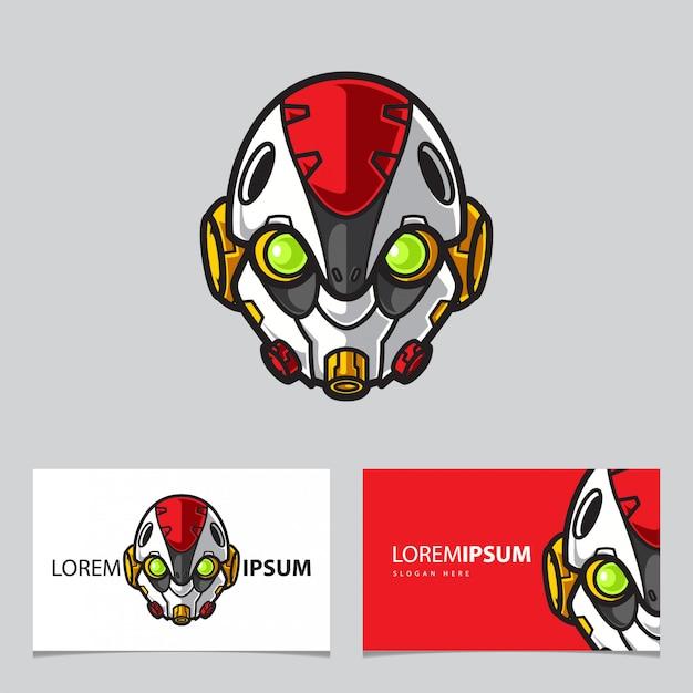 Prosty Robot Maskotka Logo Nazwa Szablonu Karty Premium Wektorów