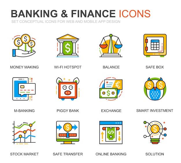 Prosty zestaw ikon bankowych i linii finansowych na stronie internetowej Premium Wektorów
