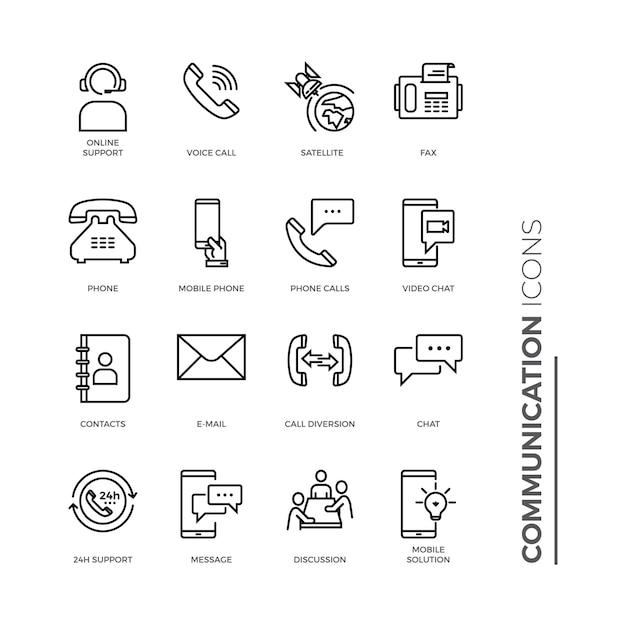 Prosty Zestaw Ikon Komunikacji, Pokrewne Ikony Linii Wektorowej. Premium Wektorów