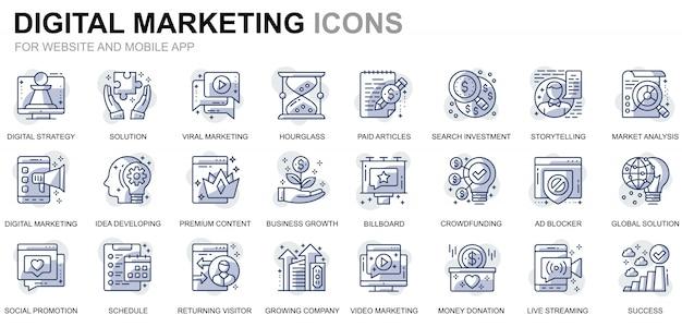 Prosty zestaw ikon linii biznesowych i marketingowych dla stron internetowych i aplikacji mobilnych Premium Wektorów