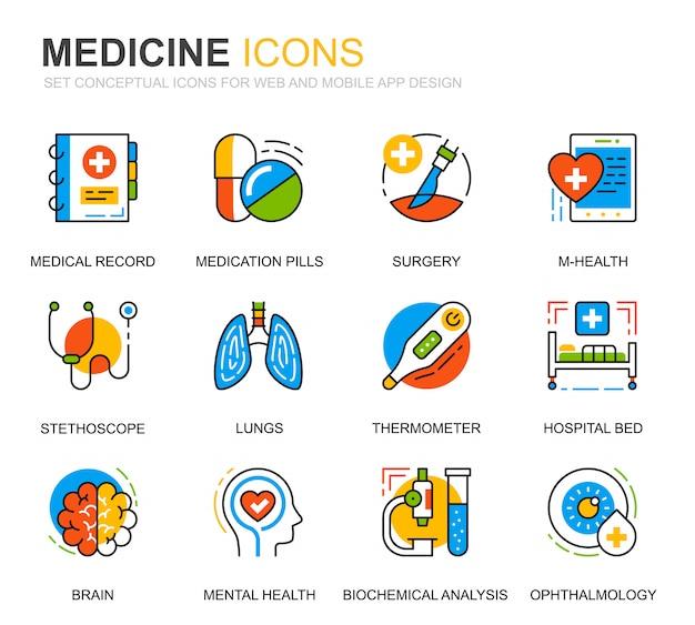 Prosty zestaw ikon linii opieki zdrowotnej i medycyny na stronie internetowej Premium Wektorów