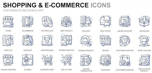 Prosty zestaw ikon linii zakupów i e-commerce dla stron internetowych i aplikacji mobilnych Premium Wektorów