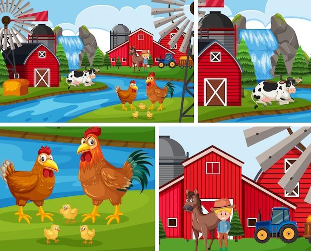 Prosty Zestaw Tła Farmy Premium Wektorów