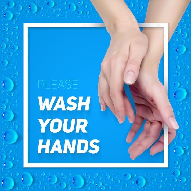 Proszę Umyć Ręce Znak. Kwadratowa Realistyczna Ilustracja Plakatu, Ulotki I Banera. Premium Wektorów