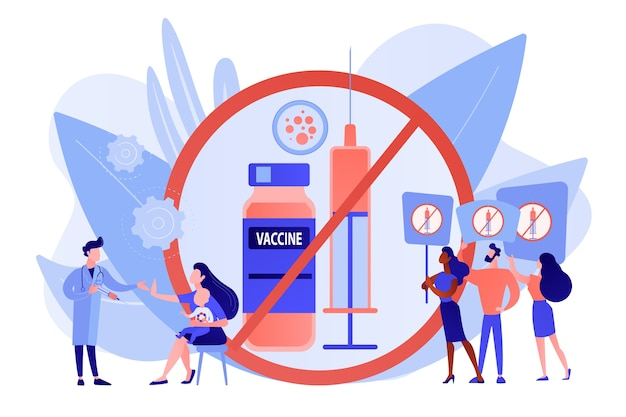 Protest Antyszczepionkowy, Odrzucenie Medycyny Prewencyjnej. Odmowa Szczepienia, Obowiązkowe Szczepienia, Pojęcie Wahania Szczepień. Różowawy Koralowy Wektor Bluevector Na Białym Tle Ilustracja Darmowych Wektorów
