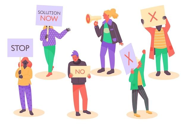 Protestująca Grupa Ludzi Z Tabliczkami Darmowych Wektorów