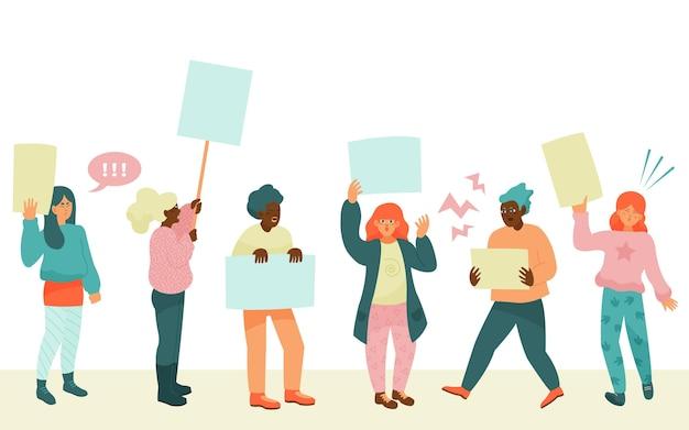 Protestująca Grupa Ludzi Darmowych Wektorów