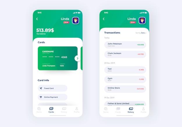 Prototyp Zestawu Interfejsu Aplikacji Bankowej Premium Wektorów