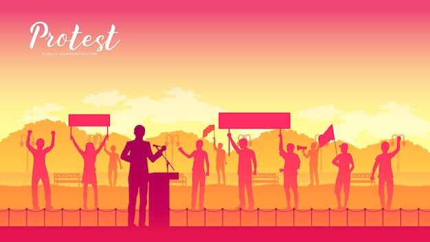 Prowadzenie Grupy Demonstrantów Na Drodze Premium Wektorów