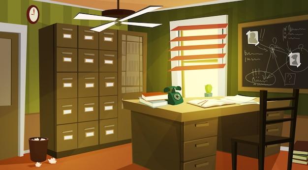 Prywatne Kreskówki Wnętrza Biura Detektywa Darmowych Wektorów