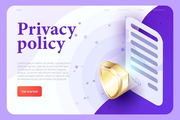 Prywatności Polisy Illsutration Pojęcie, 3d Kontrakt Z Znakiem I 3d Osłona, Ochrony Pojęcie. Aplikacja Internetowa Isometric 3d. Szablon Strony Docelowej Premium Wektorów