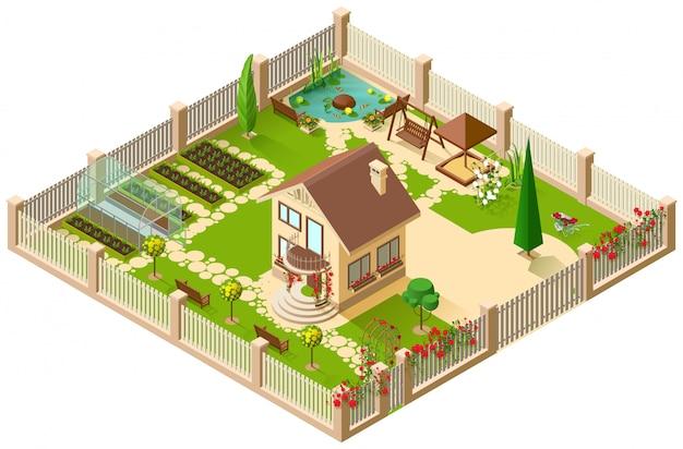 Prywatny Dworek I Ogród. 3d Izometryczny Ilustracja Premium Wektorów