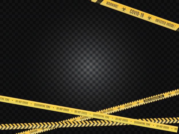 Przecinający Się Kolor żółty W Czarnej Taśmy Ostrzegawczej Szermierczej Taśmie Na Białym Tle. Zagrożenie Biologiczne. Premium Wektorów