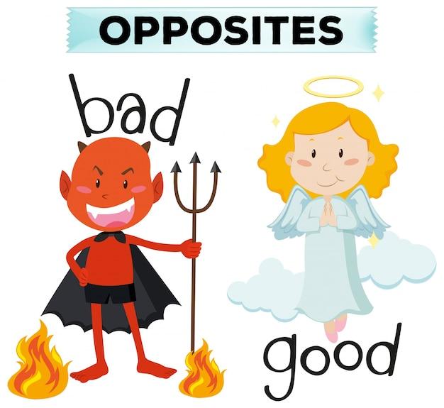 Przeciwnie słowami z złą i dobrą ilustracją Darmowych Wektorów