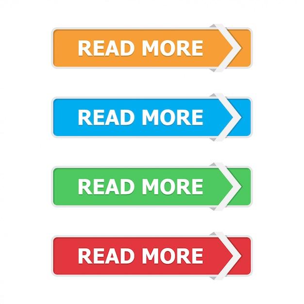 Przeczytaj więcej przycisków ustawionych w mieszkaniu ze strzałką na białym tle Premium Wektorów