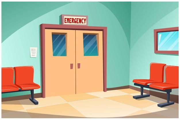 Przed Izbą Przyjęć W Szpitalu Stoją Krzesła Do Oczekiwania Na Pomoc. Premium Wektorów