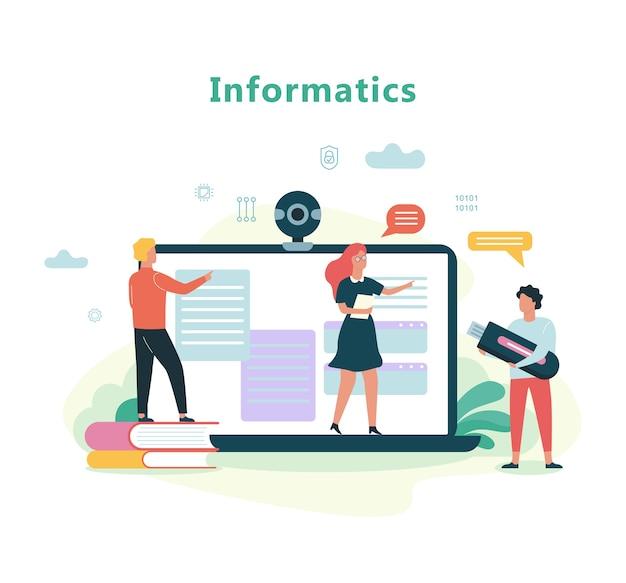 Przedmiot Szkolny Informatyka. Edukacja Na Komputerze Premium Wektorów