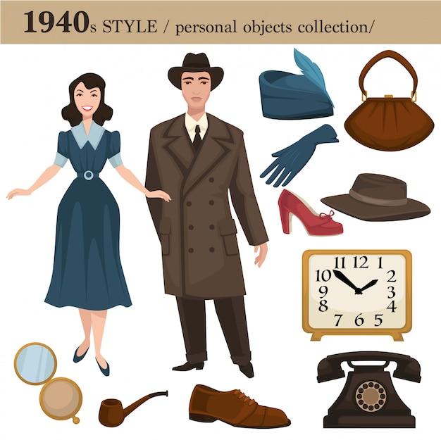 Przedmioty osobiste mężczyzny i kobiety w stylu mody z 1940 r Premium Wektorów