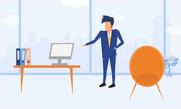 Przedsiębiorca Człowiek Biznesu W Garniturze, Pracując Na Komputerze Przenośnym W Swoim Czystym I Eleganckim Biurku. Płaski Kolor Nowoczesnej Ilustracji. Premium Wektorów