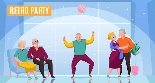 Przedszkola Domowe Starsze Pary Dobierają Się Mieszkanów Mieszkanów Cieszy Się Retro Partyjnego Dancingowego Datowanie Komunikacyjnej Okazi Płaską Plakatową Wektorową Ilustrację Darmowych Wektorów