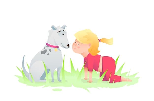 Przedszkolak Uśmiechnięte Dziecko Dziewczynka I Przyjaciel Pies Grający Humorystyczne Postacie Szczeniak I Czołgające Się Dziecko. Premium Wektorów