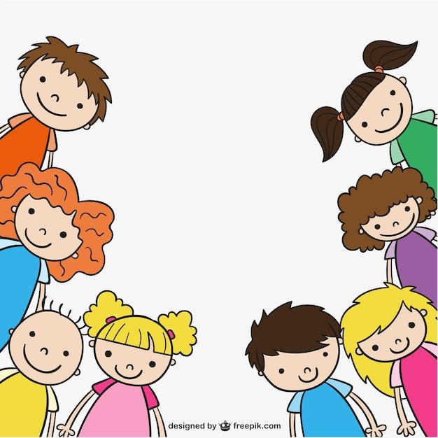 Przedszkole dzieci rysunek Darmowych Wektorów
