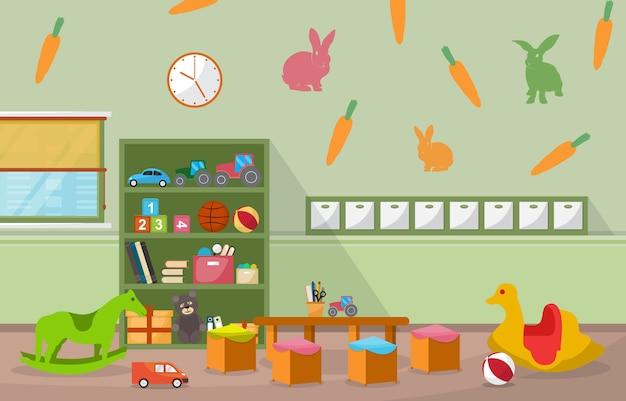 Przedszkole Klasie Wnętrze Dzieci Dzieci Zabawki Szkolne Meble Premium Wektorów